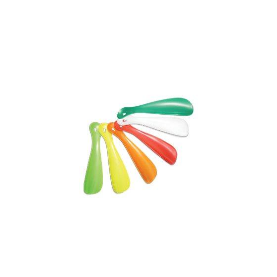 """PLASTIC SHOE HORN - 6"""" / 15cm - ASSORTED COLOURS"""