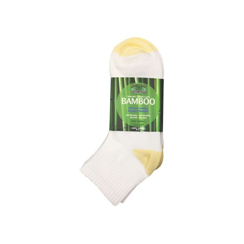 BAMBOO ANKLE SOCKS - 3 PACK - WOMEN'S - YELLOW / WHITE