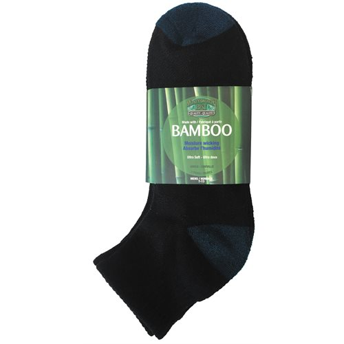 BAMBOO ANKLE SOCKS - 3 PACK - MEN'S - BLACK / BLUE