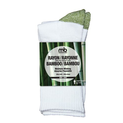 BAMBOO RAYON CREW SOCKS - 3 PACK - MEN'S - SPORT CREW - GREEN / WHITE