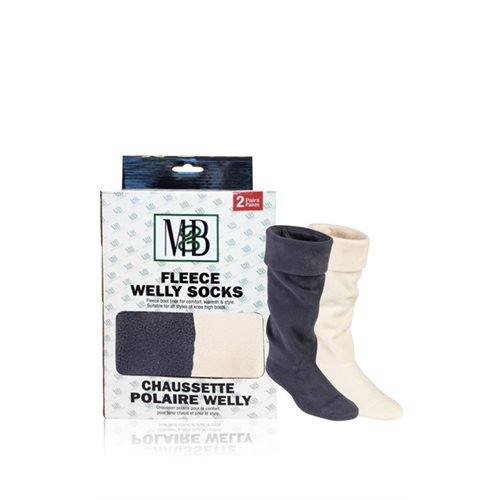 WELLY FLEECE SOCKS - GREY & CREAM 2 PAIRS