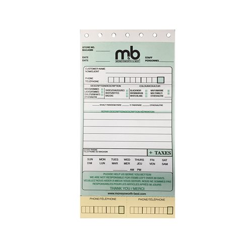 NCR RECEIPTS M&B
